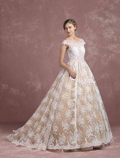 Lace Wedding Dress Champagne Bridal Gown Bateau Illusion Neckline Lace Up Short Sleeve Princess Bridal Dress With Chapel Train Milanoo