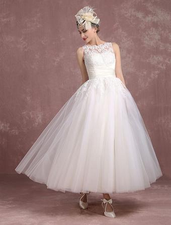 Vintage Wedding Dress Ivory Tulle Bridal Gown Back Split Bateau Lace Illusion Neckline Ankle Length Princess Bridal Dress With Bow Sash Milanoo
