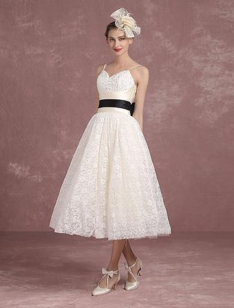 Summer Wedding Dresses 2018 Lace Vintage Ivory Bridal Gown Spaghetti Strap Beading Backless Tea Length Princess Bridal Dress With Ribbon Sash Milanoo