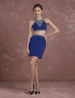2226e3875 2 piezas Prom vestido vestido Mini vestido de Cóctel cultivo superior azul  diseño trasero corto vestido