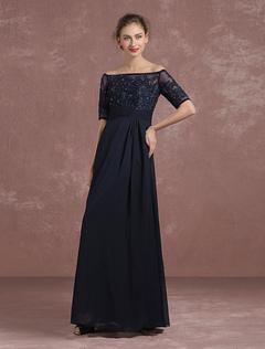 Chiffon Evening Dress Bateau Applique Beaded Mother's Dress Dark Navy A Line Floor Length Party Dress