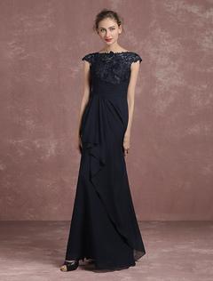 31040cdfb Lace Evening Dress A Line Mother Of The Bride Dress Dark Navy Bateau Short  Sleeve Floor