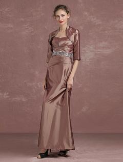Brown Evening Dress 2 Piece Mother's Dress Taffeta Beaded A Line Floor Length Party Dress Milanoo