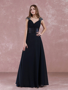 Long Bridesmaid Dress Queen Anne Neck Floor Length Evening Dress A Line Cut Out Pleated Chiffon Wedding Party Dress