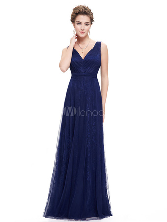 Long Bridesmaid Dress Dazzling Blue Lace V Neck A Line Draping Wedding Party Dress