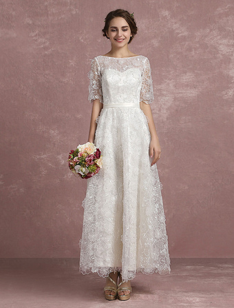 Summer Wedding Dresses Lace Illusion Sweetheart Beach Bridal Dress Half Sleeve 3D Flowers Keyhole Ribbon Bow Sash Ankle Length Bridal Gown Milanoo