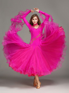 fd8dbc99a Ballroom Dance Dress Rose Tulle Ruffle Long Sleeve Ballroom Dancing Costume