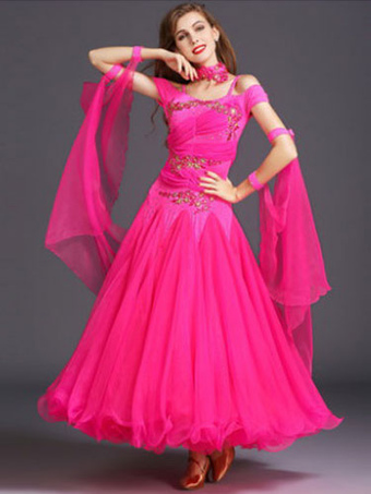 7a8eb004aba8 Ballroom Dance Dress Yellow Tulle Ruffle Off The Shoulder Ballroom Dancing  Costume