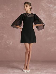 c130bfc3fb9 Черный шифон платье матери платье колокол рукав кружевной вставки линии  платье мини-участник