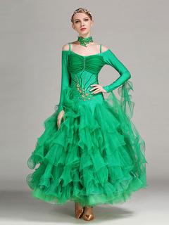 d1fc93b475a4 Sala da ballo abito Organza verde maniche lunghe Off spalla Costume di  ballo liscio