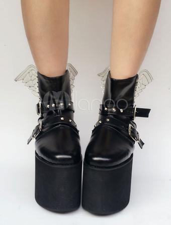 Scarpe da Lolita nere rotondo zeppa zeppa PU 10cm 87b62322aa3