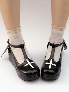 Zapatos de lolita de tela de puntera redonda adornado con encaje negros estilo street wear u4UeAHwZQK