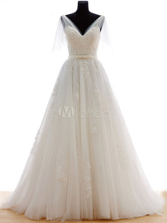 Tulle Wedding Dress Ivory Luxury Bridal Dress V Neck Illusion Sleeve Lace Applique Beading Sash A Line Bridal Gown With Train