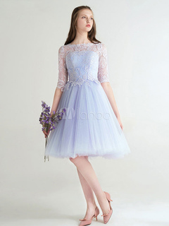 3309cc0451 Short Prom Dress Baby Blue Cocktail Dress Tulle Lace Half Sleeve A Line  Knee Length Homecoming