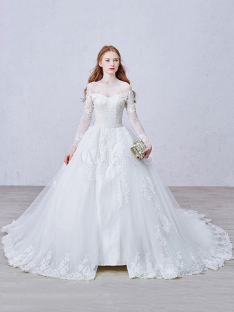 Lace Wedding Dress Princess Bridal Dress White Off The Shoulder Applique Illusion Heart Back Design Luxury Bridal Gown With Cathedral Train