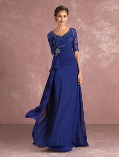Chiffon Mother's Dress Royal Blue Lace Beading Evening Dress Side Ruffles Illusion Half Sleeve Formal Dress With Train