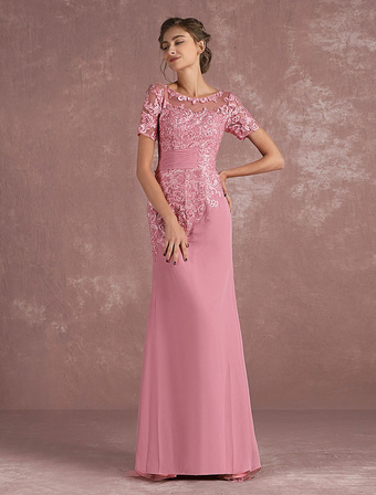 Mother Of The Bride Dress Lace Applique Mermaid Evening Dress Illusion Half Sleeve Cameo Pink Chiffon Wedding Guest Dresses With Train