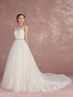 Tulle Wedding Dress Luxury Backless Bridal Dress Sweetheart Illusion Ivory Lace Applique Sequin Beading Sash A Line Bridal Gown With Train