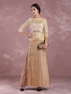 Lace Mother Of The Bride Dress Taupe Bateau Illusion 3/4 Sleeve Bow Sash Ankle Length Wedding Guest Dresses Milanoo