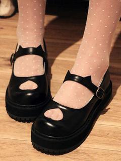 Scarpe da Lolita bianche nere squadrato zeppa PU 3.5cm 7e0c6435154