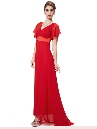 Red Bridesmaid Dress Chiffon V Neck Long Prom Dresses 2018 Short Sleeve Wide Sash Party Dress With Train