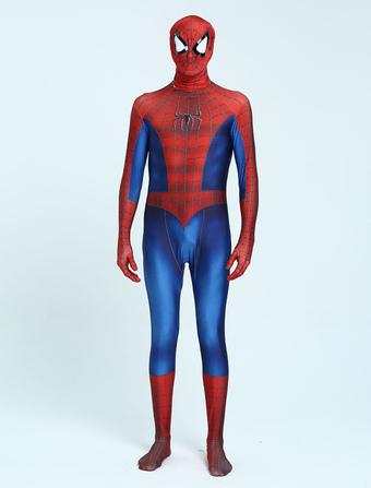 1ca8c19cf7 Carnevale Zentai Spiderman Costume da supereore Calzamaglia per adulti  Spiderman Cosplay completo tuta fibra di Disegno