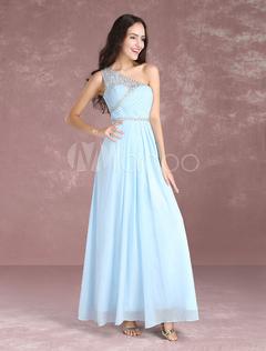 Long Prom Dresses 2018 Pastel Blue One Shoulder Bridesmaid Dress Chiffon Beading Floor Length Party Dresses