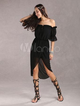 Black Bohemian Dress Chiffon Summer Dress Off Shoulder Backless Boho High Low Dresses