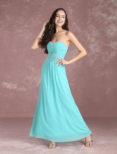 Long Bridesmaid Dresses Chiffon Strapless Turquoise Prom Dresses 2018 Sweetheart Floor Length Party Dress
