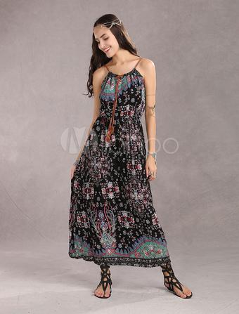 Bohemian Maxi Dresses Boho Beach Dress Halter Summer Dress