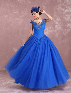 295ec21b0bb princesse robe de mariée jardin église longueur plancher Cou translucide  die Knöpfen en tulle bleu royal