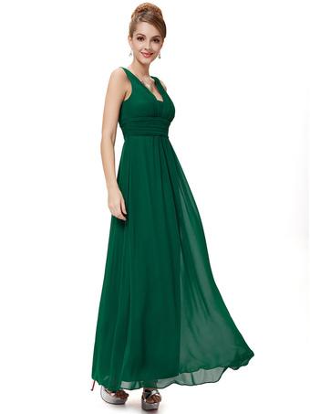 Chiffon Mother Dress Hunter Green Long Prom Dress V Neck Pleated A Line Floor Length Wedding Guest Dresses