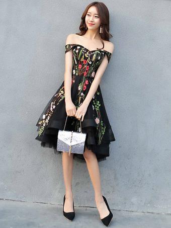 779b14ee6b Vestido de fiesta 2019 de encaje con volantes estampados florales negro Vestido  de fiesta de encaje