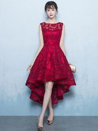 5d53558522 Vestido de fiesta 2019 Traje de Baile de encaje de color borgoña con escote  redondo Cremallera