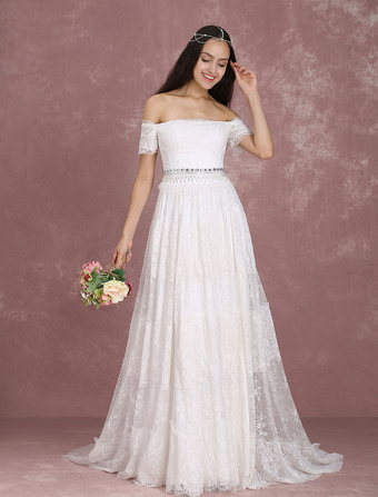 Boho wedding dress bohemian wedding dress online milanoo boho wedding dress lace ivory bridal dress off the shoulder beading a line bridal gown with junglespirit Gallery
