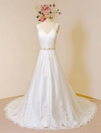 Lace Wedding Dresses 2018 Luxury Ivory Bridal Dress V Neck Illusion Back Applique Beading Sash A Line Bridal Gown With Chapel Train