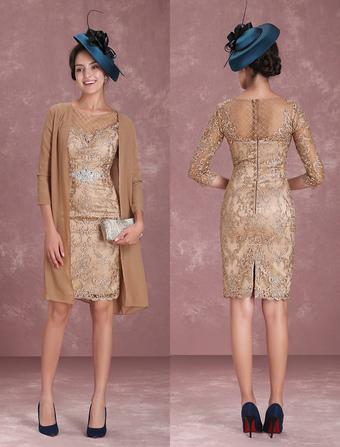 9eda58e646 Vestido para la madre de los novios 2019 de color champaña con escote  redondo con 3