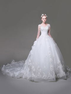 Princess Wedding Dresses Luxury Ball Gown Bridal Dress White Lace Sequins Long Sleeve Illusion Ruffles Bridal Gown With Long Train