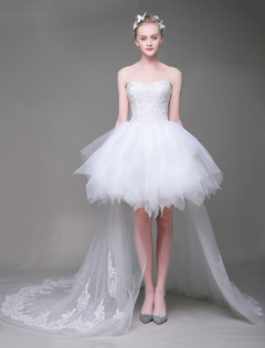 Lace Wedding Dresses White High Low Sweetheart Strapless Tutu Bridal Dress With Train