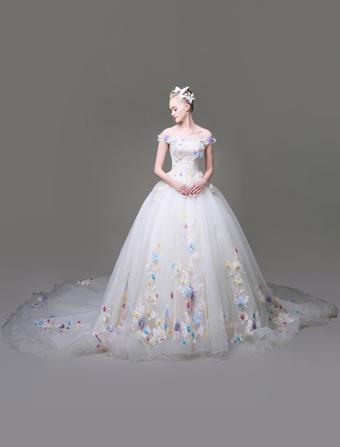 50aee1a562a Robes de banquet en dentelle avec fleur princesse col bateau et doublure  manches courtes Avec traîne