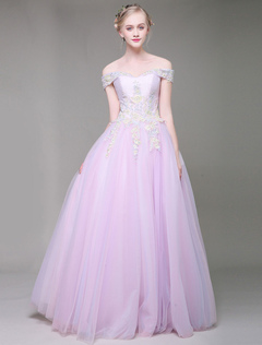 7457b204e33a Abiti da sposa lunghi lungo il merletto della spalla ricamati bordare  fucsia rosa tulle lunghezza del