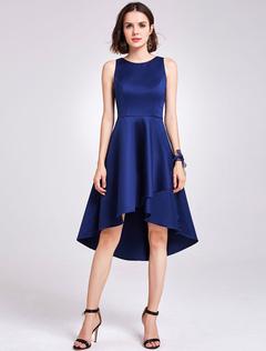 f9dc89c12198 Short Bridesmaid Dresses Satin Baby Blue High Low Sleeveless Knee Length  Wedding Party Dress