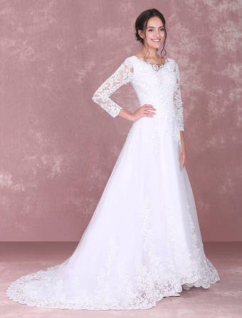 White Wedding Dresses Lace Long Sleeve Beading V Neck Bridal Gown With Train