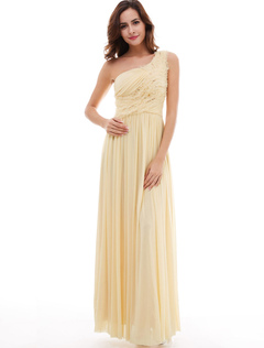 Daffodil Bridesmaid Dresses One Shoulder Chiffon Sequins Pleated Long Bridesmaid Dresses