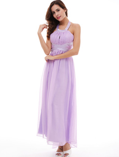 Lilac Bridesmaid Dresses Halter Chiffon Cut Out Backless Pleated Wedding Party Dress