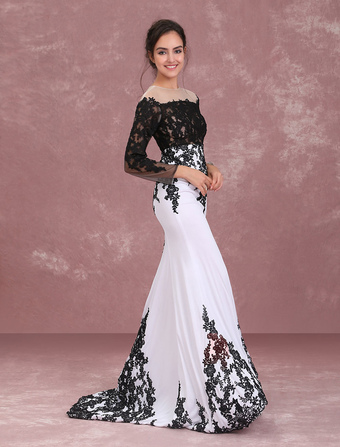 Lace Evening Dresses Long Sleeve Mother Of The Bride Dress Applique Mermaid Cutout Illusion Formal Dress