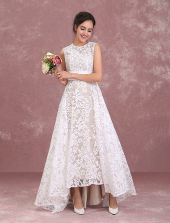 97735b8443 Champagne Wedding Dresses Lace High Low Beach Bridal Dress Pleated Sash  Asymmetrical Wedding Gown