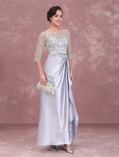 Mother Of The Bride Dresses Silver Beading Bateau Half Sleeve Sash Pleated Floor Length Wedding Guest Dress