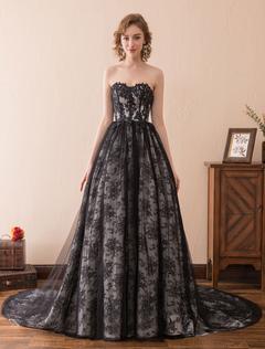 881dfc03e47 princesse robe de mariée jardin église Avec traîne bustier sans bretelles  lacets de dentelle en dentelle