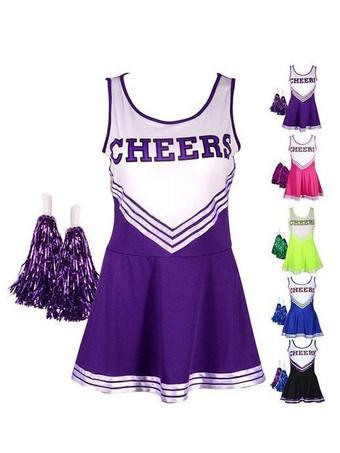 Cheer Leader Halloween Costume Purple Mini Dress For Women